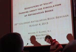 "A talk by Michael Suarez, titled ""Ecosystems of Value: Thinking about the Circulation of Antiquarian Books"""
