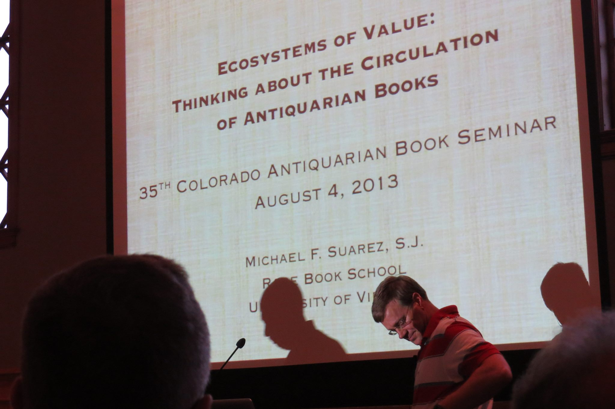 """A talk by Michael Suarez, titled """"Ecosystems of Value: Thinking about the Circulation of Antiquarian Books"""""""