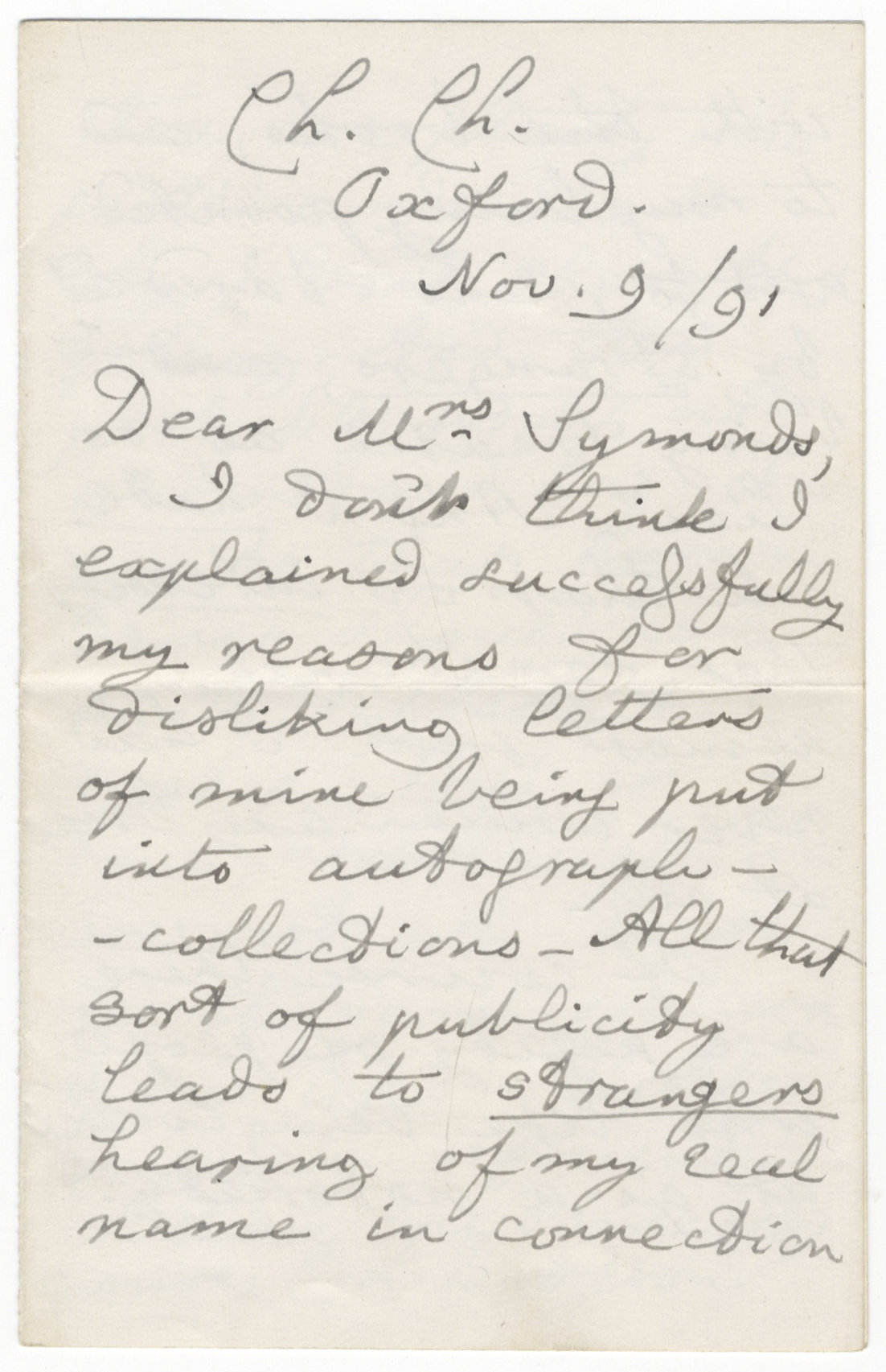 Lewis Carroll letter first page