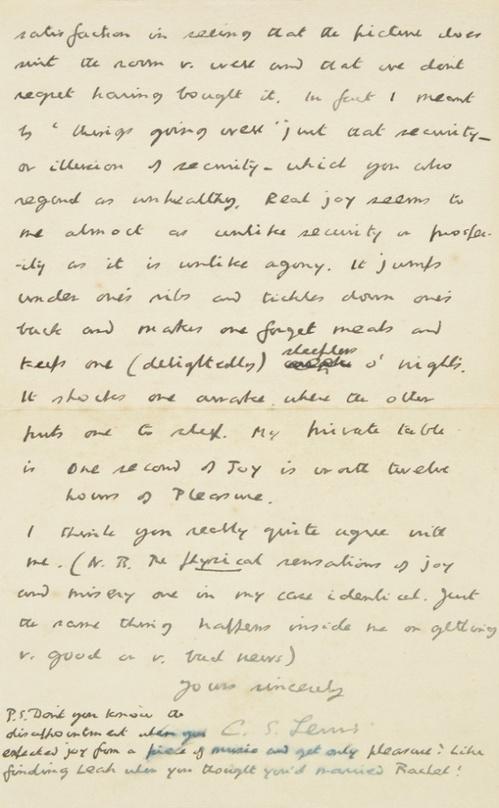 C.S. Lewis letter about his interpretation of joy