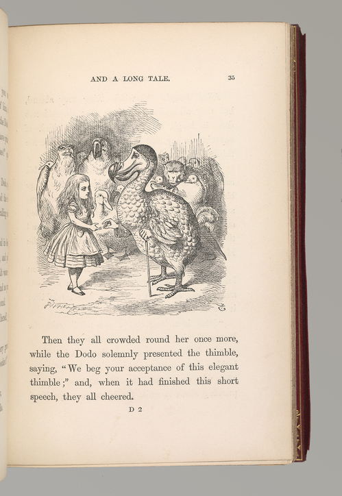 Carroll, Lewis, 1832-1898. Alice's adventures in Wonderland. / London : Macmillan and Co., 1865. PML 352027 p. 35 And A Long Tale with Tenniel illustration showing Alice with Dodo