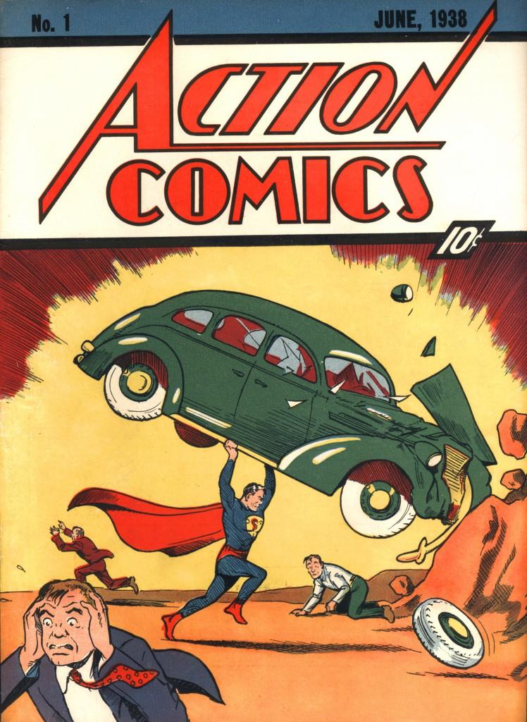 Jerry Siegel (writer) and Joe Shuster (artist), Action Comics (No. 1, June 1938). Published by Detective Comics, Inc., New York. Courtesy of Metropoliscomics.com.