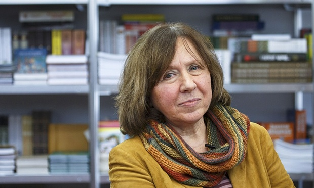 Belarussian writer Svetlana Alexievich is seen during a book fair in Minsk, Belarus, in 2014. Photograph: Reuters