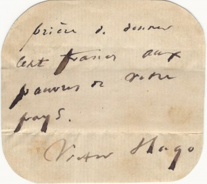 Victor Hugo's plea for the poor, Image Courtesy of the Raab Collection. Biblio.com and Rare Finds
