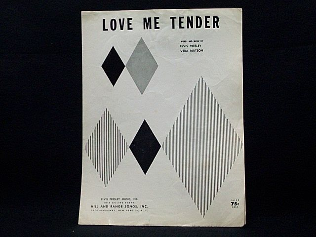 Sheet music for Love Me Tender. Listed on Biblio: https://www.biblio.com/book/love-me-tender-presley-elvis-matson/d/171745722