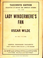 Lady Windemere's Fan by Oscar Wilde, Tauchnitz edition.