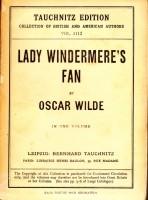 Lady Windemere's Fan by Oscar Wilde, Tauchnitz edition.
