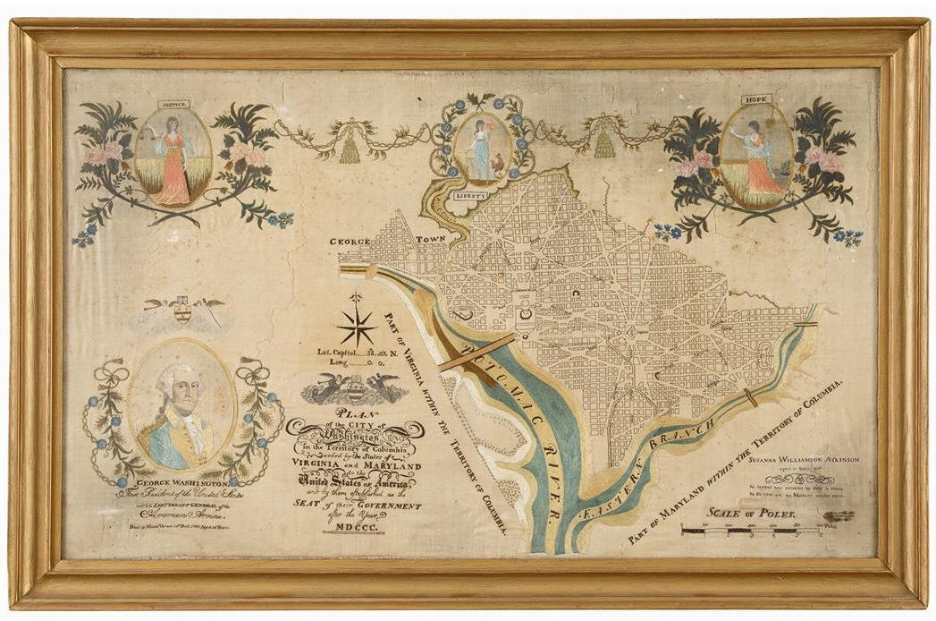 Early 19th-century Embroidered Map of D.C. (as seen on Biblio.com)