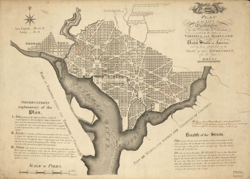 early 19th century embroidered map of D.C.