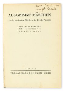 The Anne Frank and Margot Frank copy of Aus Grimms Marchen (Grimm's Fairy Tales)