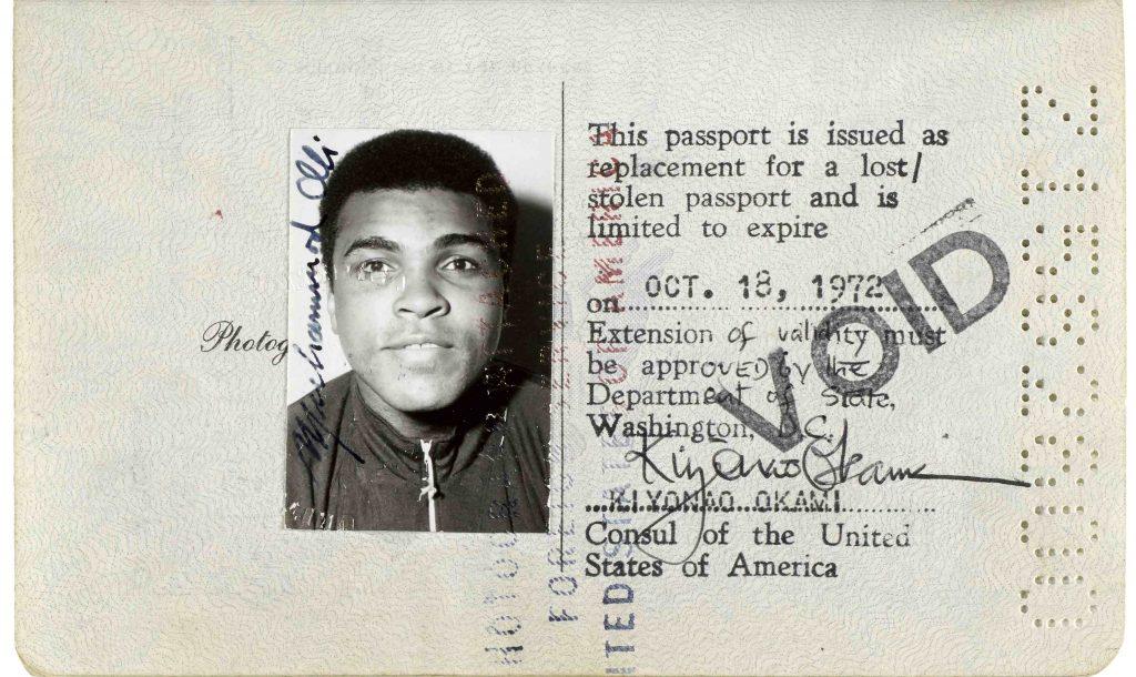 Muhammad Ali Passport heads to auction (via FB&C and Biblio.com)