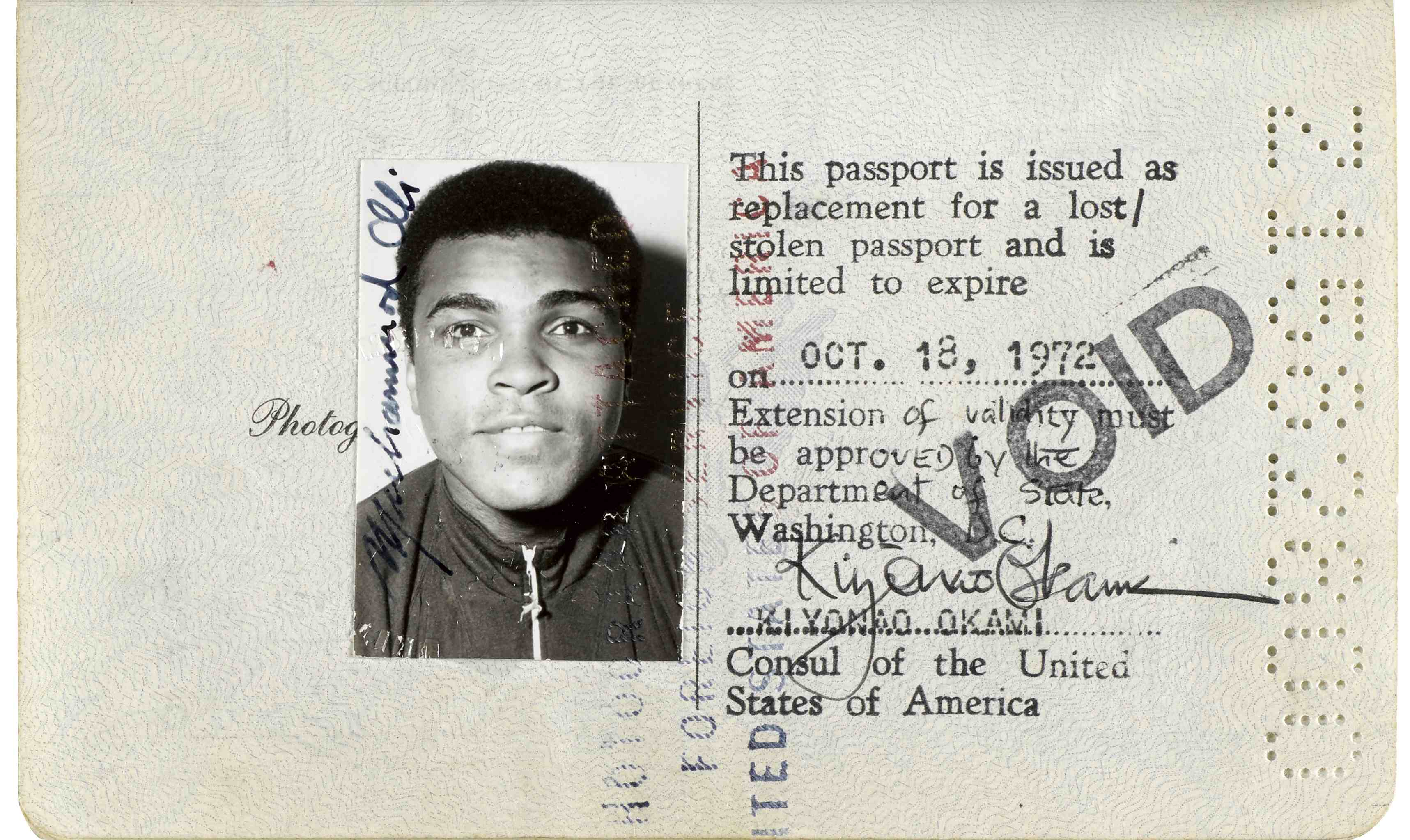 Muhammad Ali Passport heads to auction (via FB&C and Biblio.com)