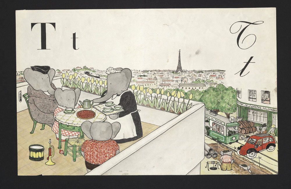 Babar art by Jean de Brunhoff (as seen on Biblio.com)